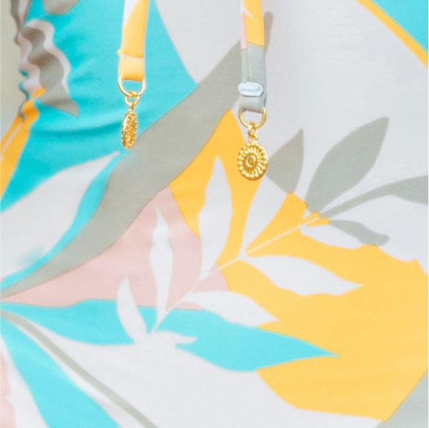 Close up on digital printing of Sunseeker stencilled tropics bikini