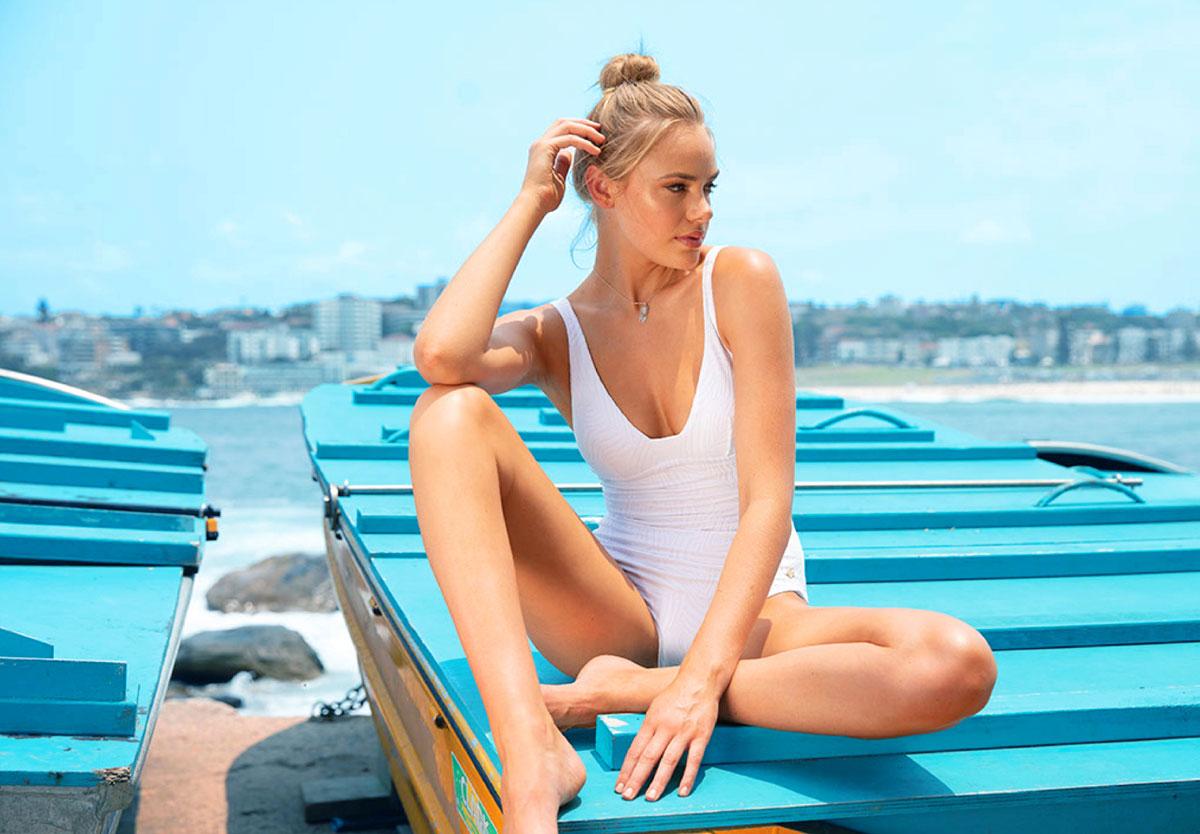 Woman in sunseeker bikini made with green efforts